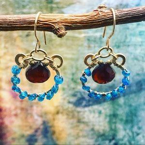 Handmade carnelian appetite earrings Blue & amber